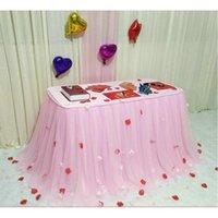 Table Jupe Taule Rose Three Couche Soie de glace Tissu De Mariage Décor Anniversaire Baby Douche Douche Décoration Nappe
