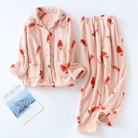 Flannel Pajamas Sets Women Autumn Winter Pigiama Donna Inverno Soft Comfortable Long-sleeve Thick Warm Homewear Ladies Nightwear
