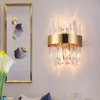 Современные светодиодные Crystal Swions Sconces Высококачественные хромированные лампы для подсветки спальни прикроватные лампы