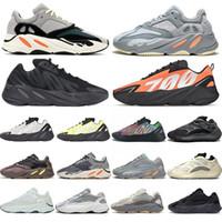 En Kaliteli 700 V2 Kanye Batı Erkek Kadın Koşu Ayakkabıları 3 M Yansıtıcı Turuncu Kemik Dalga Koşucu Sneakers Katı Gri Analog Tael Karbon Mavi
