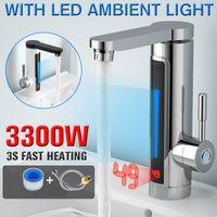 3300W 전기 인스턴트 온수기 수도꼭지 탭 LED 주위 조명 온도 디스플레이 욕실 주방 인스턴트 난방 탭