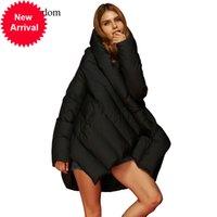 Ева свобода зима европейская и американская мода большой размер пальто плащ свободный оригинальный дизайн женская с капюшоном вниз