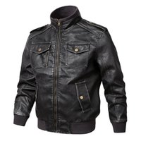 Men' s Pilot Leather Jacket Spring Autumn Casual Stand C...