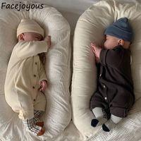 2021 New Born Roupas Unisex Traje Bebê Menina Ribbed Jumpsuit Infantil Crianças Meninos Voltar Remendo Macacão Cute Onesie Roupas IPF0