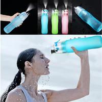 Esportes Refrigeração Spray Garrafa de Água 740ml 25oz Exterior Camping Garrafas de Água de Viagem Plástico Copo Fosco Vazão Garrafa de Água Vtky2189