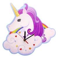 Fantasy Horloge Horloge magique Licorne Horloge murale pépinière enfants Chambre à coucher Décorative horloge arc-en-ciel Unicorn FAVOR FAVOR FAVIRE Art Art Décor Y200407