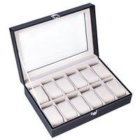 12 cuadrícula reloj almacenaje caja de almacenamiento colección de joyas caja de almacenamiento caja de visualización de doble capa caja de exhibición de cuero negro