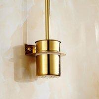Spazzola per la toilette in acciaio inox Pennello da parete Pennello da bagno Set da bagno per stoccaggio per il bagno (Golden Silver) 1
