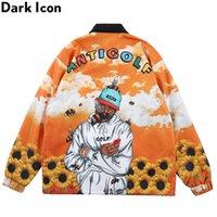 Dark icon Antigolf Cargo Veste Hommes Collier De Doublure Collier Imprimé Couche Veste Homme Veste Rap Vestes de musique Vêtements d'extérieur Y201026