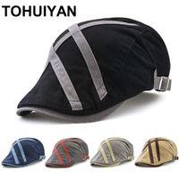 Tohuiyan Brytyjski Gentleman Golf Hat Men Casual Cotton Newsboy Cap Duckbill Visor Cabbie Hats Boina Gorras Płaskie czapki dla kobiet 201216