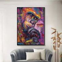 Colorful Gorilla Pop Art Canvas Oil Painting Graffiti Animal...