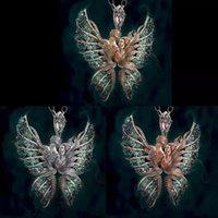 Retro Kristall Strass Anhänger Halsketten Schmetterlingsflügel Halskette Kette Frauen Männer Engel Liebe Zubehör Schmuck Mode 3 76fs N2