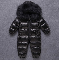 INS Baby Impermeable Snowsuits Piel infantil Con capucha Con capucha Monos Niños Niños a prueba de viento espesar Mono caliente Down Abrigo A5443