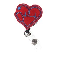 10pcs / lot Livraison Gratuite Gratuit Infirmière médicale Heart avec stéthoscope Retrait rétractable Sentier Name d'identification ECG Badge