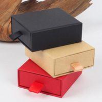 Caixa de gaveta elegante de 8 * 7 * 3cm de luxo com esponja para a caixa da gaveta do empacotador da colar da exposição da joia com fita