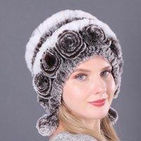 Beanie / Crânio Caps Jinfuma Peles Chapéus para Mulheres Inverno Real Rex Hat Kniting Feminino Quente Neve Senhoras Elegante Princesa Gorros Boné