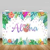 Contexte de fond Aloha Tropical Party Pographie Decoration Hainan Noix de coco Été Anniversaire PO Fleurs Vert Feuilles1