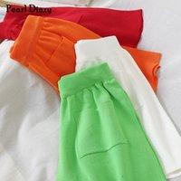 Kadın Şort Inci Günlüğü Örme Kaburga Kısa Pantolon Yaz Örgü Elastik Bel Gevşek Rahat Culottes Düz Renk Geniş Bacak Cepler