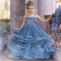 2121 Bonito flor menina vestidos para casamento espaguete laço floral apliques em saias camadas meninas concurso vestido uma linha crianças vestidos de aniversário