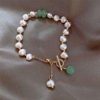 Barocke Perle Charm Armband Mode Naturstein Anhänger Perlen Armbänder Für Frauen Mädchen Glück Bucker Armband Freundschaft Schmuck Geschenk