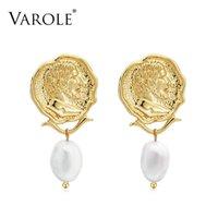 Varole Vintage Grawerowane Monety Drop Dangle Kolczyki Dla Kobiet Rysunek Twarz Naturalne Perły Wisiorek Kolczyk Biżuteria Brinco