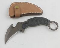 Alta qualidade lâmina fixa Karambit garra faca 5cr13 titânio revestido de lâminas EDC caça facas faca com bainha de couro