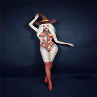H131 BodySuit Leotardo Cantante Pole Dancer Halloween Calabaza Siamese Elástica Estirado Fiesta Cosplay Uniforme Traje de fiesta Mostrar Modelo Disco