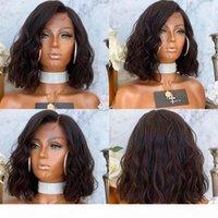 Indien 180 densité Bob Wavy 360 Dentelle Frontal Human Cheveux Perruques pour femmes noires Epais Lob Style Naturelle Partie profonde Perruque de cheveux humains
