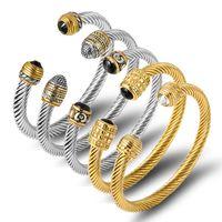 Brand Multi Design Twisted Cable Wire Bangle Vintage Fashion Bangles Manschett Armband Kvinnor Män Unik Designer Julklapp