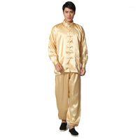 Neuheit gold männer satin pyjamas set chinesischer stil button pyjamas anzug weiche seepfweüme shirttrouser nightgown s m l xl xxl1