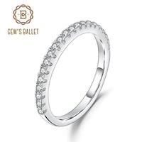Gem's Ballet 925 Sterling Prata Meia Eternidade Casamento Anel de Banda Real Moissanite para Mulheres Fine Jewelry 1.5mm EF Color Y1124