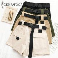 Pantaloncini da donna Genayooa Streetwear donna fitness cotone estate 2021 donna vita alta gamba larga cargo femminile feminino tasca1