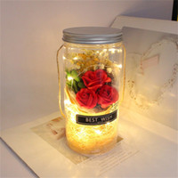 Rote Rose Wishing Flasche Valentines Day Geschenk Flasche Trockene Blumenstrauß Transparente Vasen Heu Seil Hochzeit Dekorationen Originalität Lampe12by L2