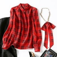 2021 Primavera de manga larga Soporte Collar Rojo Houndstooth Natural Natural Real Ribbon Tie Bow Soie Blusa Elegante Camisa Casual Shirts WJ122909