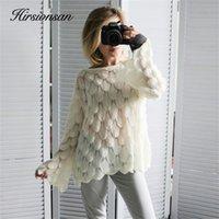 Hirsionsan Elegante Pullover Frauen Casual Mode Lose Frauen Pullover Und Pullover Nette 3D Rosa Weiß Jumper Sueter Mujer LJ200815