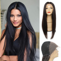 KISSHAIR 13x4 lace frontal wig natural color silky straight ...