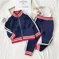Детские дизайнерские наборы одежды Новые роскошные печать трексуиты модные письма куртки + Joggers повседневная спортивная стиль толстовка мальчиков девушки