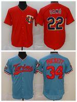 남자 야구 34 Kirby Puckett Jersey 22 Miguel Sano Cooperstown FlexBase 멋진베이스 자수 및 스티치 팀 블루 레드 좋은 품질