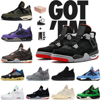 Con scatola 2021 Top Quality Jumpman 4 4s Bred Pallacanestro Scarpe Union Noir Cactus Jack Starfish Black Cat Sail Sail Trainer Sneakers Taglia 36-47