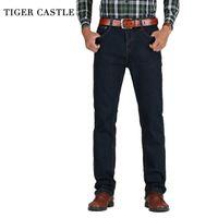 Тигр замок мужская высокая талия джинсы хлопчатобумажные толстые классические растягивающие джинсы черные синие мужские джинсовые брюки пружины осень мужчин комбинезон lj201029