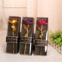 Regalos de amante de San Valentín Venta al por mayor Olle Gold Flower PVC caja de regalo CARNACIONES Rose con hoja de oro de San Valentín regalos A12