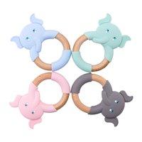 Силиконовые детские пушистые слоны животные деревянные кольца пакеты грызунов из бука деревянные погремушки жевать слонов кольца детские продукты