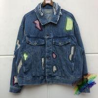 Stickerei schwerer Stoff mit Kapuze Jeansjacke Frauen-Qualitäts-Slim Fit Cowboy-Mantel-Blau Jean