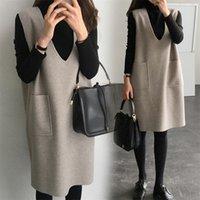 Mujeres embarazadas otoño trajes de vestir de moda con invierno largo suelto ropa de dos piezas vestido de maternidad carece de suéter + woolen sundress lj201114
