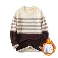 Осень полосатый личностный досуг молодежь круглые шеи цвет соответствует свободным пуловере с длинным рукавом свитер мужская мягкая нижняя дна