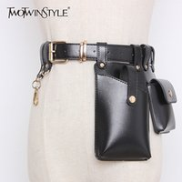 TWOTWINSTYLE Vintage Synthetic Leather Women's Belt Beading Hit Color Patchwork Bag Belts For Female Fashion Autumn Tide 201117