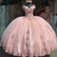 Bola-de-rosa do vestido Vestidos Quinceanera Off the Shoulder apliques de renda doce 16 barato vestido de festa vestido de 15 anos