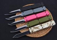 5 colori indietro Push Mini Key Fibbia Autotf EDC Pocket Knivere Coltelli in alluminio Coltello regalo Xmas Coltello regalo 440C Drop Tanto D / E Blade A2076