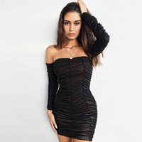 2020 European and American station long sleeve sexy tube top pleated mesh ladies dress autumn and winter fashion city