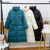 Mulheres para baixo parkas fitaylor 2021 inverno mulheres dupla colarinho grosso quente casual feminino 90% branco pato longo casaco solto preto outwear1